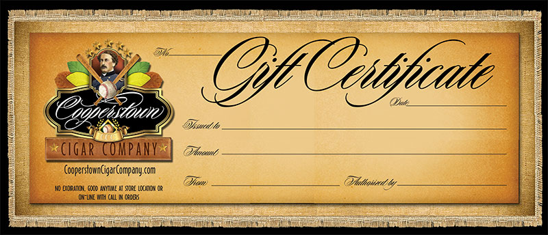 Cooperstown Cigar Company Gift Certificate